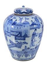 A large Chinese blue and white ovoid jar , Kangxi