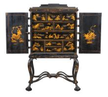 A Queen Anne black lacquer and gilt decorated chest on stand , circa 1710