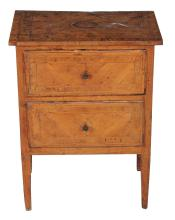 An Continental fruitwood and line inlaid petite commode, late 18th century