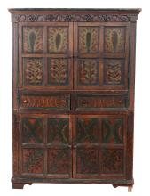 A painted pine cabinet, first half 19th century, possibly Irish, 210cm high