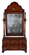 A red lacquer dressing table mirror in Queen Anne style