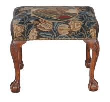A carved walnut stool in George II style , late 19th/early 20th century