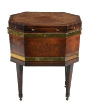 A George III mahogany and brass bound octagonal wine cooler, circa 1800
