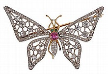 An Edwardian butterfly brooch, circa 1910, the