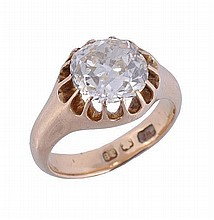 A mid Victorian diamond single stone ring, the