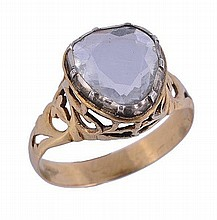 A rose cut diamond single stone ring, set with a