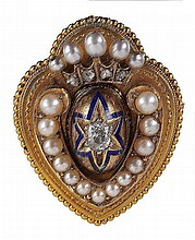 A Victorian diamond and pearl brooch/locket, circa
