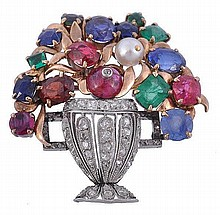 A multi gem giardinetto brooch, the rose cut