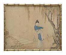A set of three Chinese paintings on silk depicting