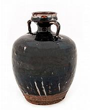 A Chinese phosphatic glaze-splashed brown-glazed