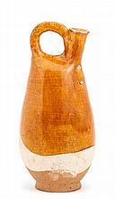 An amber glazed stoneware pilgrim flask, Liao