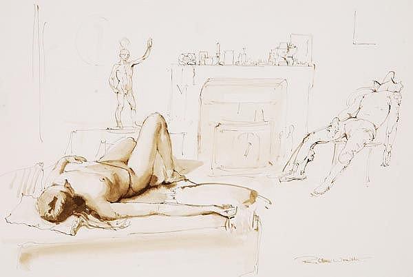 ARR - Robbie Wraith (b. 1952), Figure study, Pen,