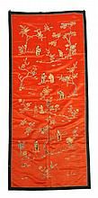 A Chinese commemorative red silk panel, 19th