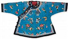 A Chinese silk informal jacket, 19th century, of