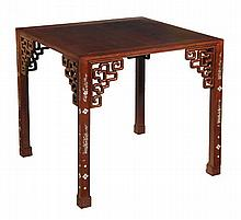An Oriental table with mop inlay, early 20th
