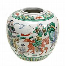 A Chinese famille verte ginger jar with globular