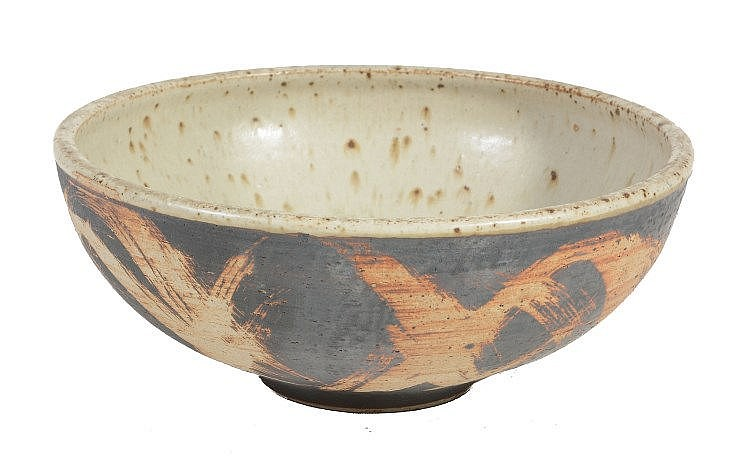 Barbara Cass , an Arden Pottery stoneware bowl, iron/white interior