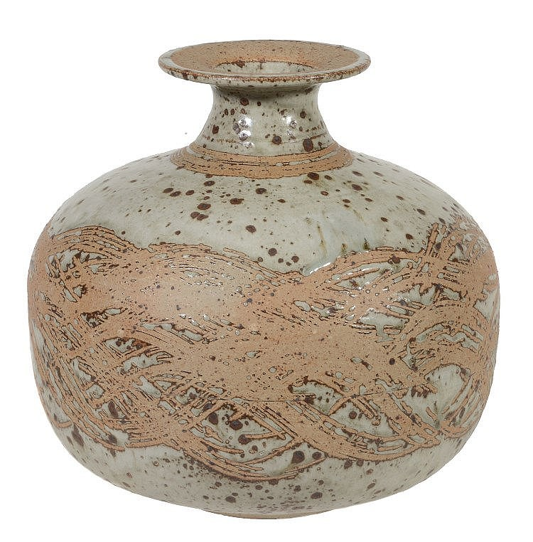 Barbara Cass , an Arden Pottery stoneware ovoid vase, with an everted rim