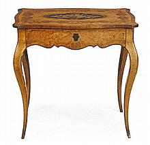 A Victorian satin birch, thuya and marquetry
