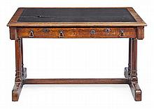 A Victorian oak library table, circa 1870, the