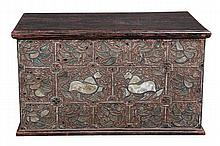 A Burmese stained hardwood, metal, parcel gilt and