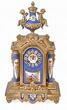 A French Louis XVI style porcelain inset gilt