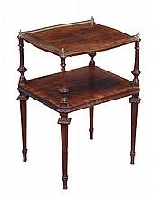 A Victorian mahogany and crossbanded two tier