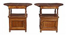 A pair of Victorian walnut what-nots, circa 1870,