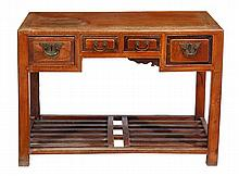A Chinese elm side table, with four frieze