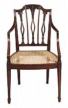 A George III mahogany elbow chair, circa 1790, the