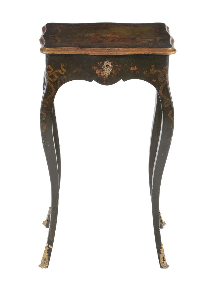 A french vernis martin side table late 19th century for Furniture 30cm deep