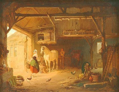 Jean Louis van Kuyck (1821-1871) Stable interior