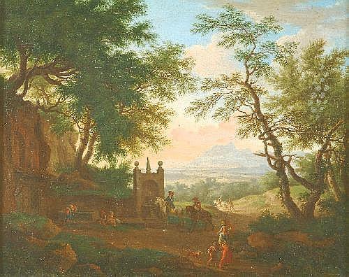 Willem de Heusch (1638-1692) Travellers before a