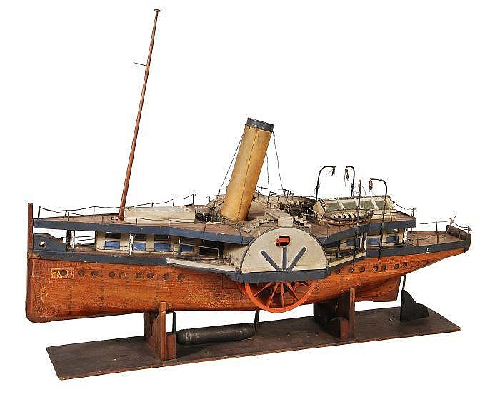 A plank-on-frame model of a paddle steamer, circa