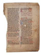 Two leaves from two monumental Breviaries, in Latin