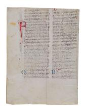 Collection of leaves from medieval manuscripts on parchment [thirteenth to...