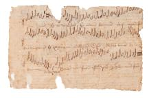 Four cuttings from a large musical manuscript with apparent polyphony