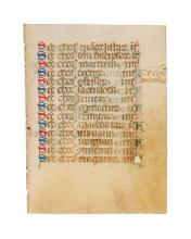 Leaf from a Book of Hours with a Litany of the choirs of the dead, in Latin