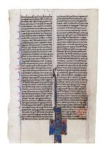 Leaf from a Bible with an historiated initial enclosing Cyrus the Great...