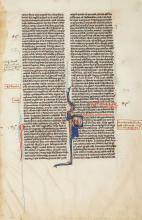 Single leaf from a decorated manuscript Bible