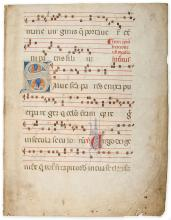 Large initial on a leaf from an illuminated manuscript Gradual