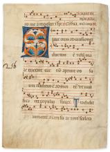 Large initial on a bifolium from a decorated manuscript antiphoner