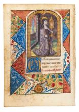 St. Clare of Assisi and a smiling snail, on a leaf from an illuminated Book...