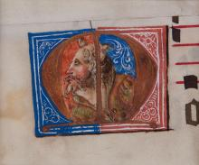 Moses on two historiated initials from a choirbook