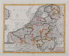 Low Countries.- Albrizzi (Giovambattista) - A group of 6 general and regional maps of the Low Countries,