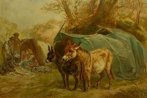 Henry Morley Park (1850-1919) 'A Gypsy Camp' Oil on board Signed lower right Titled to verso 32cm x 47cm