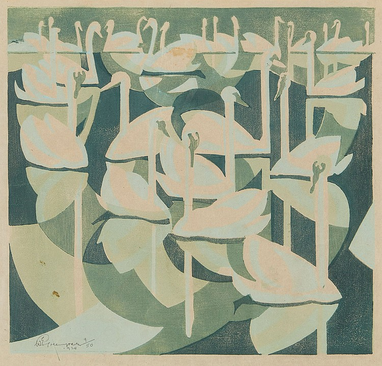 William Greengrass (1896-1970) - Swans