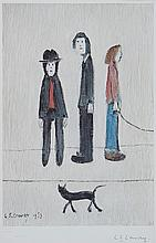 Laurence Stephen Lowry (1887-1976)(after) - Three Men and a Cat