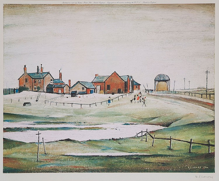 Laurence Stephen Lowry (1887-1976)(after) - Landscape with Farm Buildings