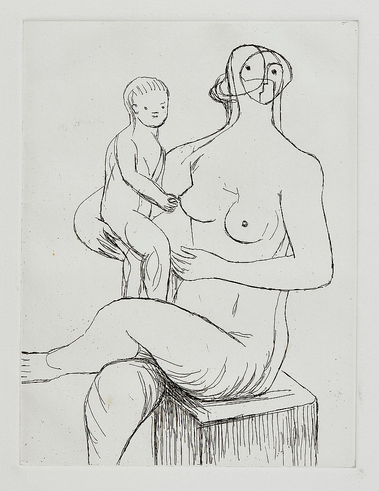 Henry Moore (1898-1986) - Seated Mother and Child (+2 other works)